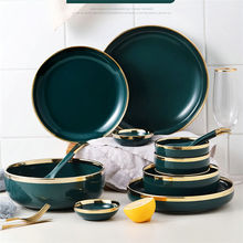 Wholesale luxury green shiny glazed dinnerware set porcelain with gold edge