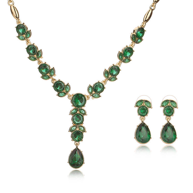 Fashion Jewelry Sets For Women African Beads Jewelry Set Classic Green Color stones Jewellery Sets Costume Wedding Jewelry