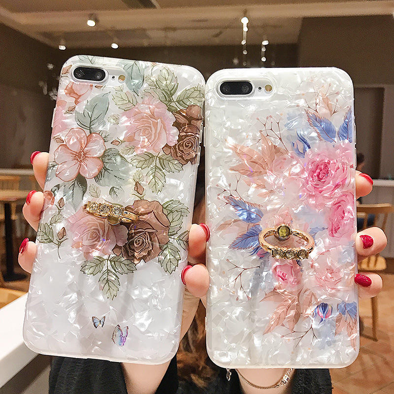 Luxury Shell Texture Flower Case For iPhone XR XS Max X 8 7 Plus 6S Plus Soft IMD Glitter Finger Ring Crystal Phone Back Cover