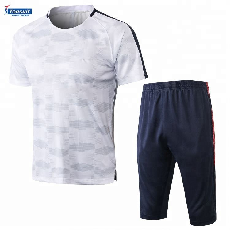 Custom 2018 soccer tracksuit sublimation football jersey and pants