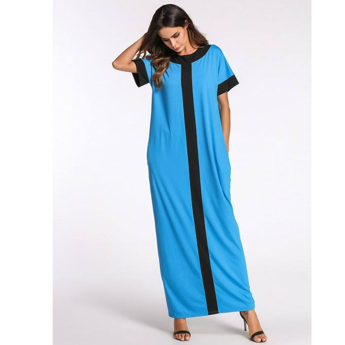 Europe and the United States Middle East contrast color Muslim dress loose robes plus size xxxl xxxxl women's clothing A166
