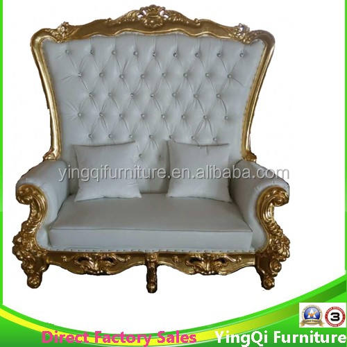 Golden Trimming Wedding High Back Loveseat Sofa Chairs