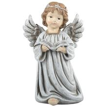 Home indoor decor noel Led resin angel statue Christmas ornament with book