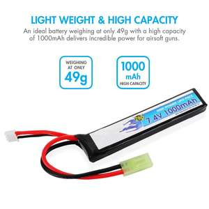 Factory OEM Lipo RC Airsoft Battery 20C 2S 7.4V 1000mAh Batteries Pack With Mini Tamiya Connector