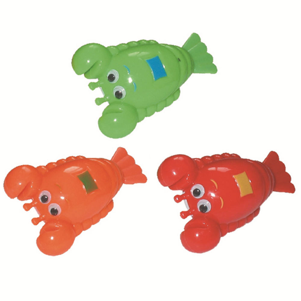 Hot sale colorful plastic animal bath swimming wind up lobster toy from china