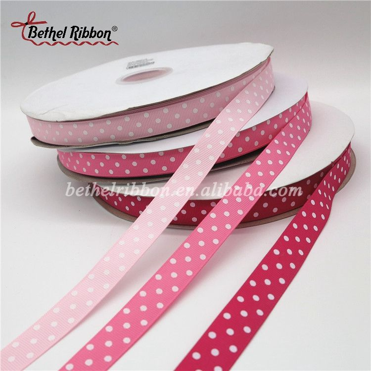 High end promotional gross grain dot printed ribbon