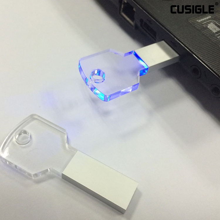 Aanpassen Logo Key Shape Crystal Transparant Led Licht <span class=keywords><strong>Usb</strong></span> 2.0 Flash Memory Stick <span class=keywords><strong>Thumb</strong></span> <span class=keywords><strong>Drive</strong></span>