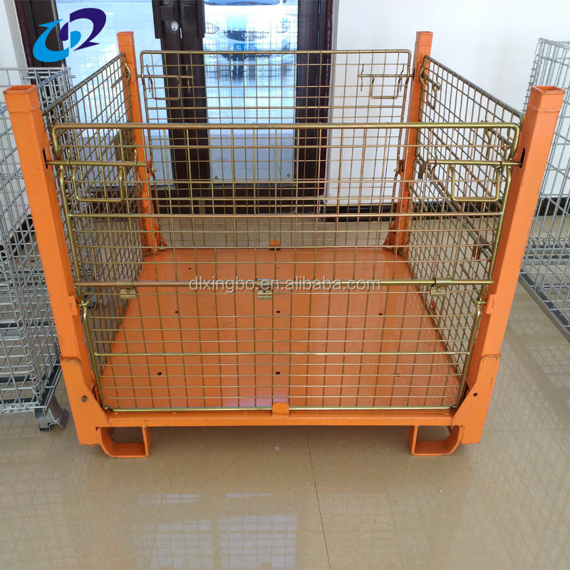 Industrial warehouse storage folding stackable metal crates