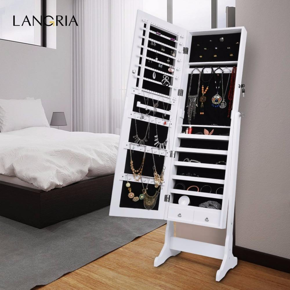 wholesale French standing mirror jewelry armoire for home bedroom