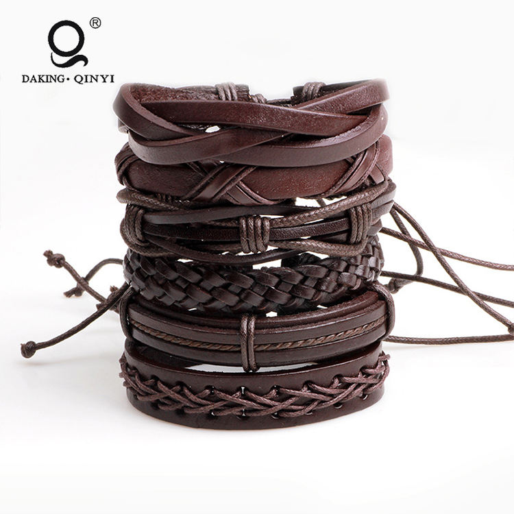 Wholesale Fashion Popular Brown Wax Ropes Faux Leather Handmade Braid Men Bracelet
