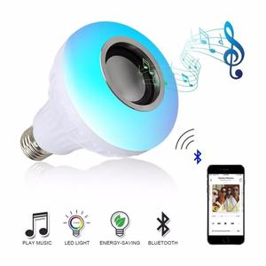 LED Light Bulb with Integrated Bluetooth Speaker 12W RGB Changing Lamp Wireless Stereo Audio with 24 Keys Remote Control