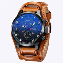 Alibaba hot seller genuine leather band japan quartz movement curren 8225 military watches