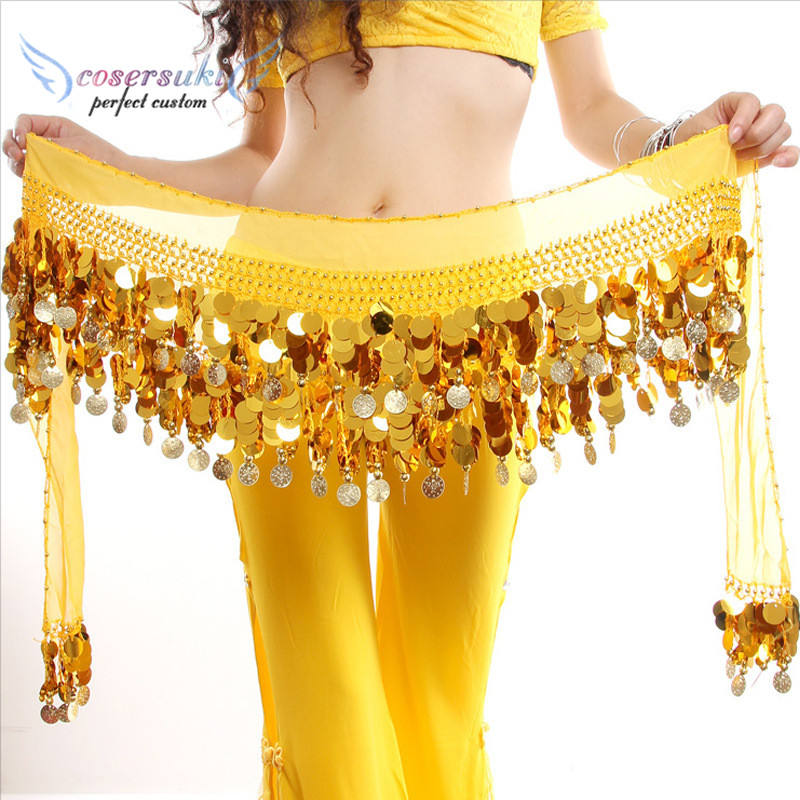Belly dance Belt Hip Scarf Coin waist chain Sequined copper enamel dance Practice exercises waist chain Sequins performance