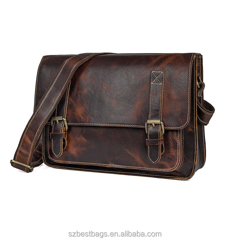Factory Custom Real Leather Retro Men's Messenger Bags Business Briefcase