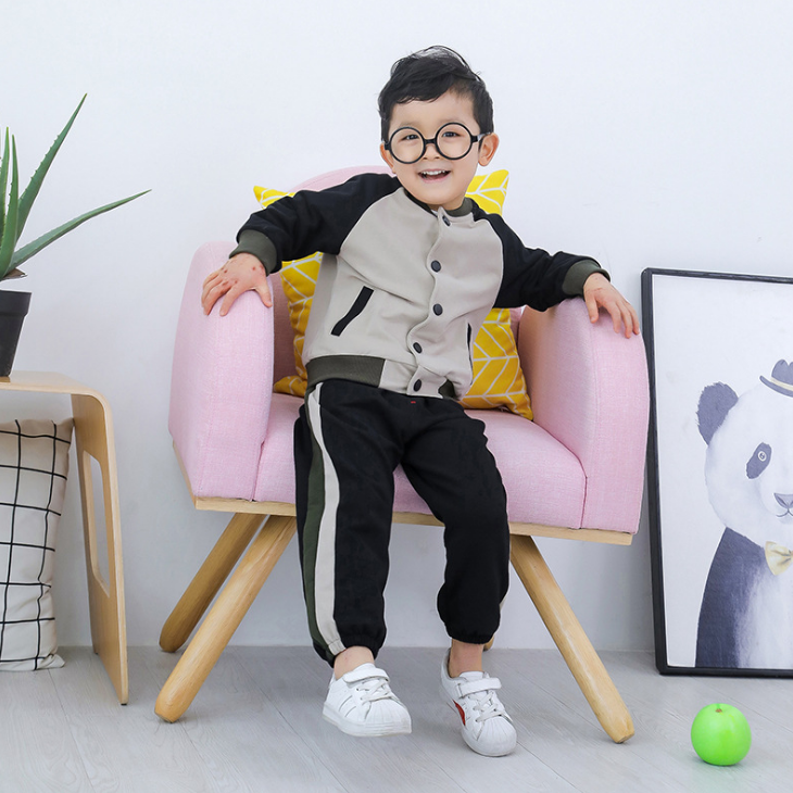 YY10419B Stitching design long sleeve fashion clothing set boy's spring clothes kids tracking suit children