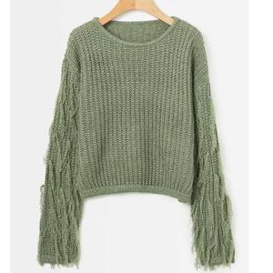 women's knitwear fashion tassel decorative long sleeve loose Cute Pullovers Sweaters