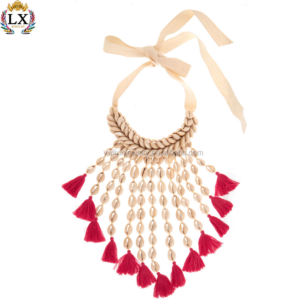 Large fashion statement shell necklace bib seashell bali natural white trumpet cowrie spuka sea shell choker necklace for women