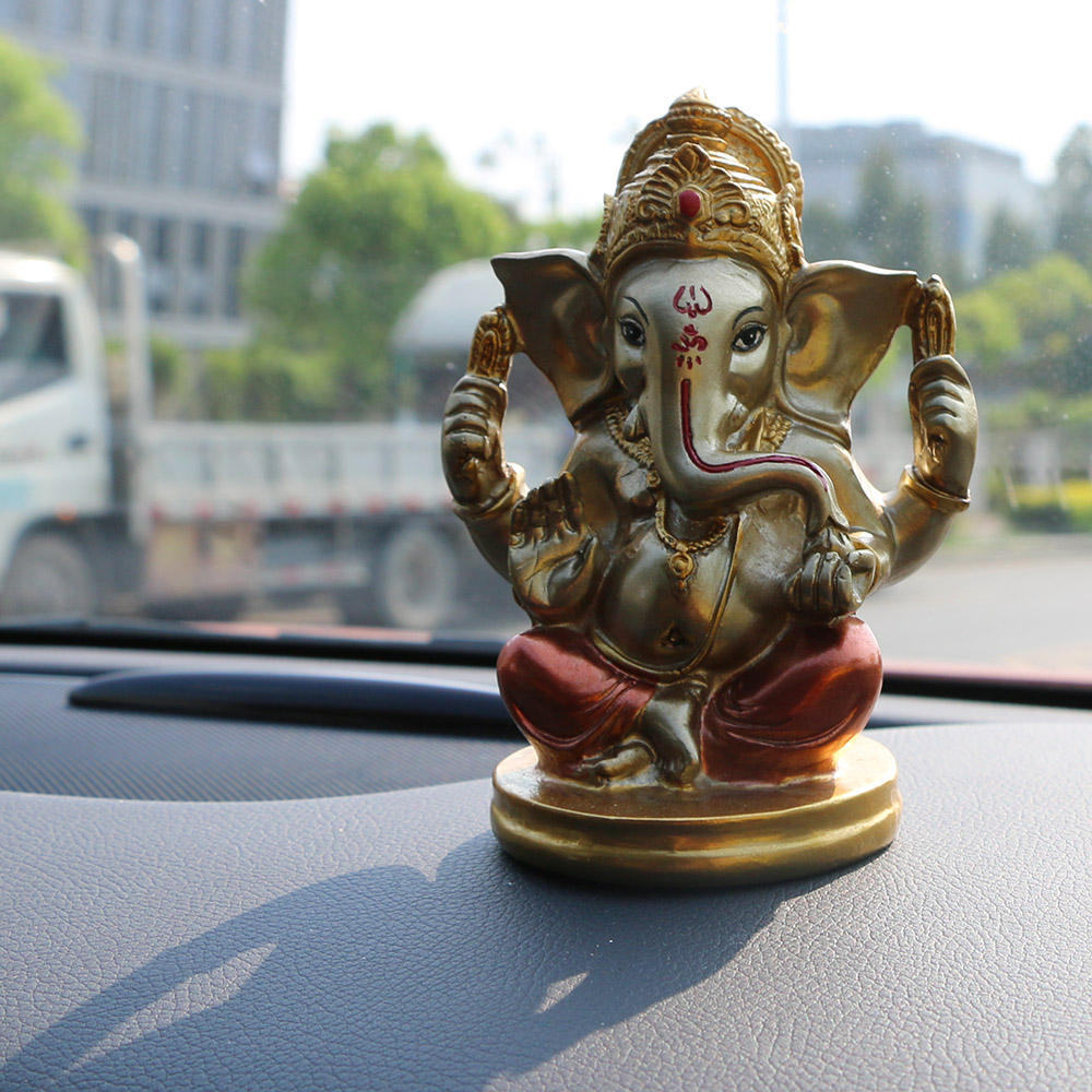 4.72 Inch High Hand Painting Poly Stone Antique Color Indian God Ganesha Statue for Car Decor Hindu Lord Ganesh Yoga Statue