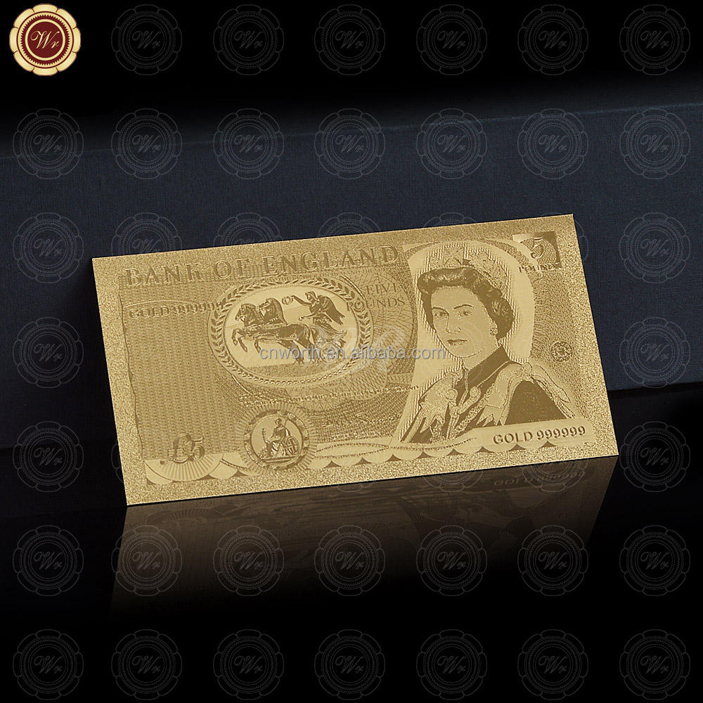 Wr Antique Imitation 24k Gold Plated 1971 Year Design Great Britain 5 Pounds Banknote Novelty UK Paper Note Crafts