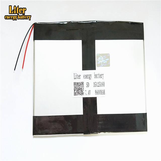 7.4 V 35125160 8600 mah بوليمر lithiumion البطارية مع عالية الجودة ليثيوم أيون اللوحي بطارية للكمبيوتر اللوحي