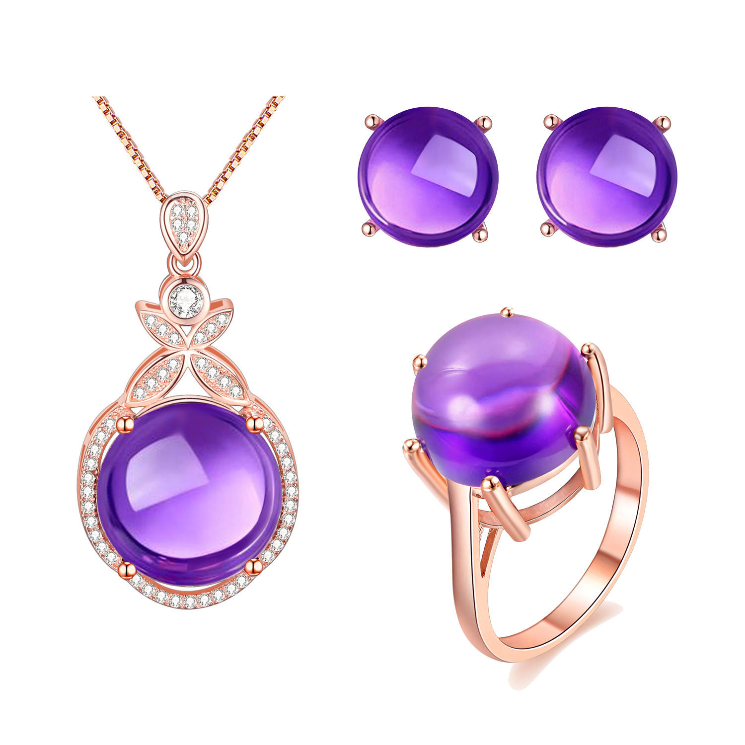 USPS Purple Amethyst Necklace Earrings Ring Women Rose Gold Color 925 Sterling Silver Anniversary Wedding Jewelry Set CT005