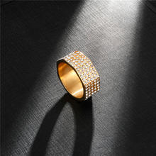 Micro inlay zircon gold plated ring luxury rings unisex stainless steel ring Fashion Men Jewelry