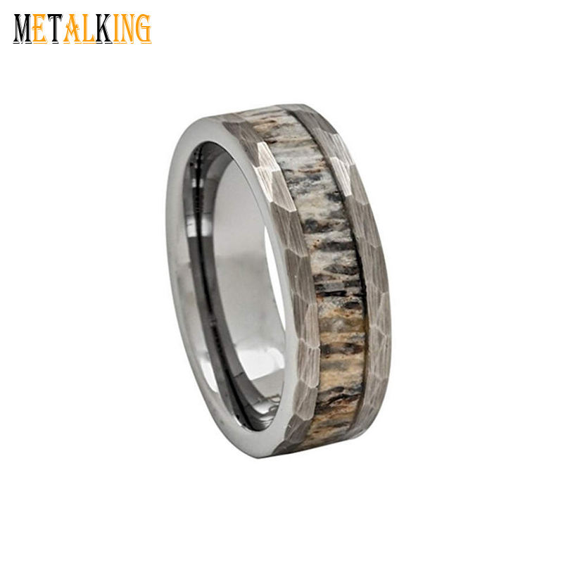 8mm Hammered Tungsten Wedding Band with Deer Antler Inlay Flat Comfort Fit