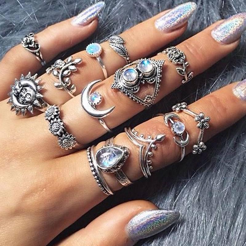 5 Piece Bohemian Artificial Diamond Ring Set Shiny Star Moon...