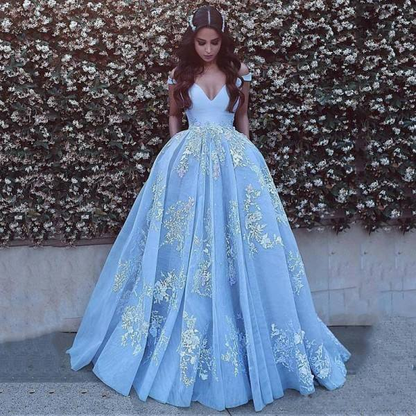 2019 Nieuwkomers Off Shoulder White Lace Geappliceerd Sky Blue Arabisch Puffy Speciale Gelegenheden Jurken