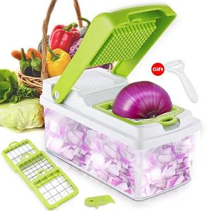 3Interchangeable Blades Set Vegetable Chopper Fruit Dicer Salad Onion Vegetable Cutter with Food Container