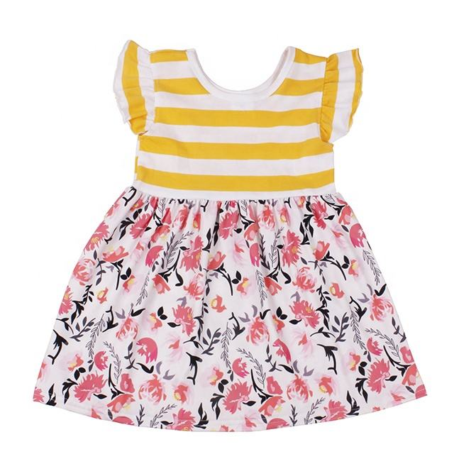 latest design toddler girls yellow stripe floral printing dress wholesale children summer dress