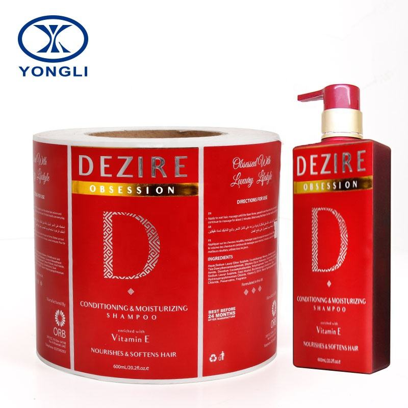 High quality Custom Adhesive Sticker For plastic bottle hair oil Labels,bottle vinyl shampoo private label