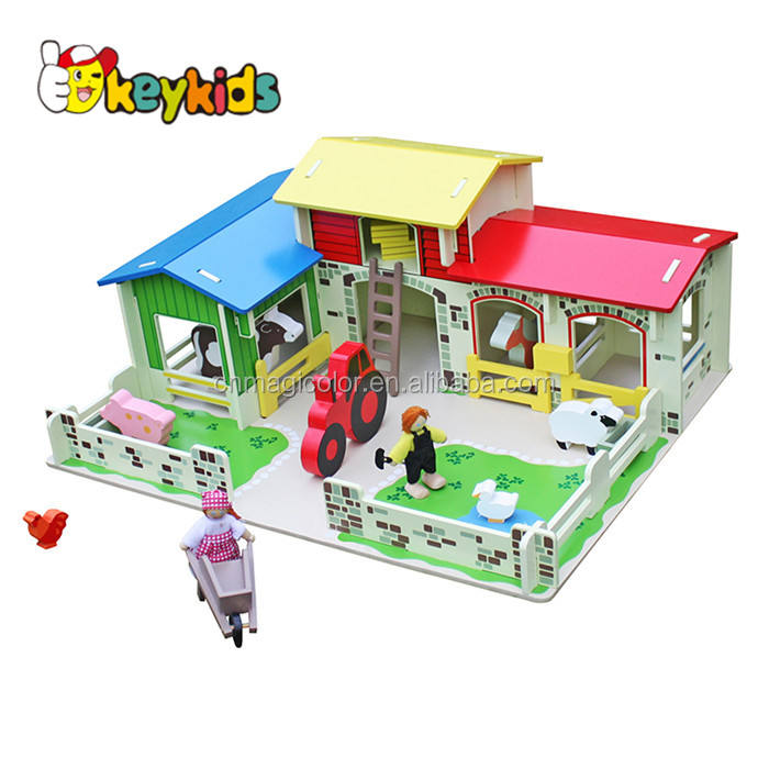 Wholesale cheap interesting pretend play house wooden farm toys for kids W06A167