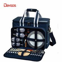 Portable Picnic Basket SetTote for 4 with Complete Cutlery Set