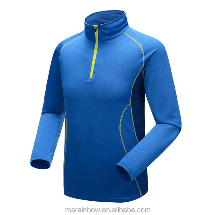Men Outdoor Sports Quick Dry Anti-Uf Long Sleeve Hiking Soccer 1/4 Zip Pullover Stand Collar Fishing T-Shirt Custom