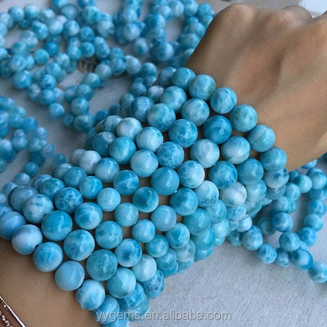 12mm TOP Quality Nice Natural Larimar Beads stretch bracelets Rough Stones For Sale Wholesale