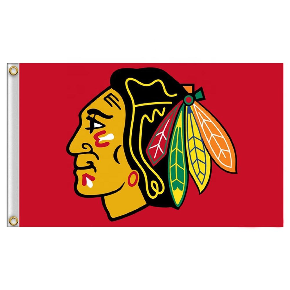 Chicago Blackhawks Bendera 90X150 Cm Polyester Sports Hockey Stars dan Stripes Banner