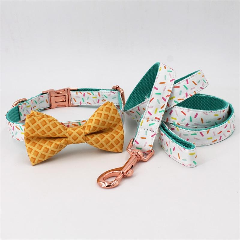 Girl Dog Collar Sprinkles Pattern Bow Collar Rose Gold adjustable pet puppy cat collar bow