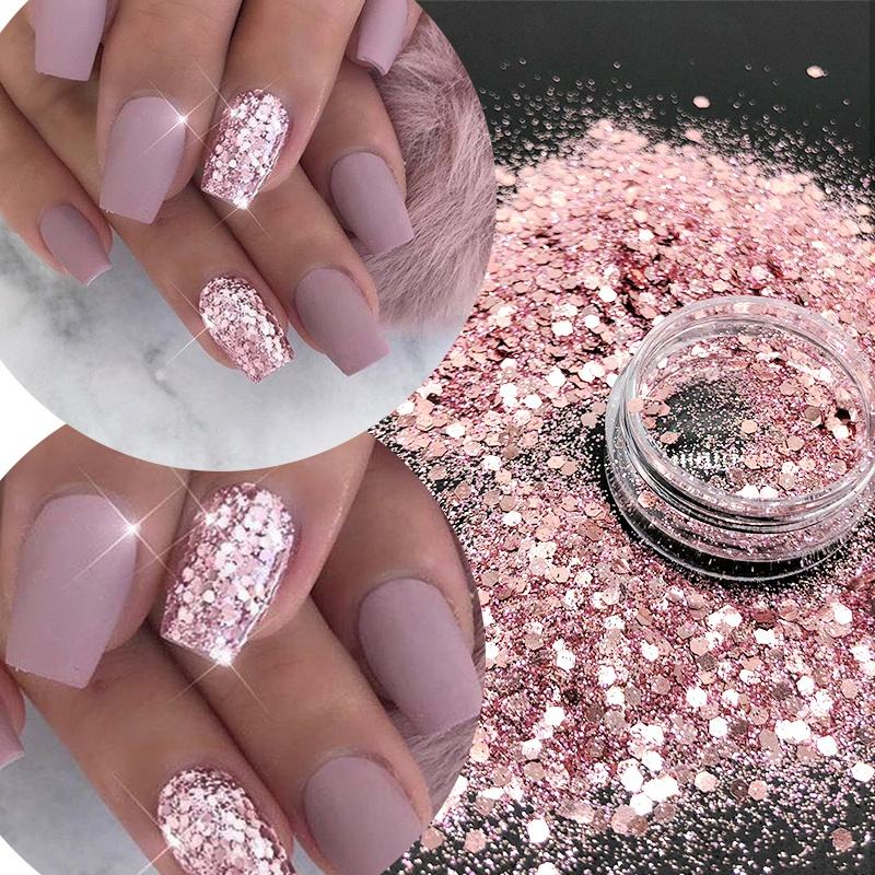 Eco-friendly Bulk Wholesale Poly MSDS Certificate Cosmetic Grade Fairy Body Nail Face Manicure Rose gold Glitter Dust Powder