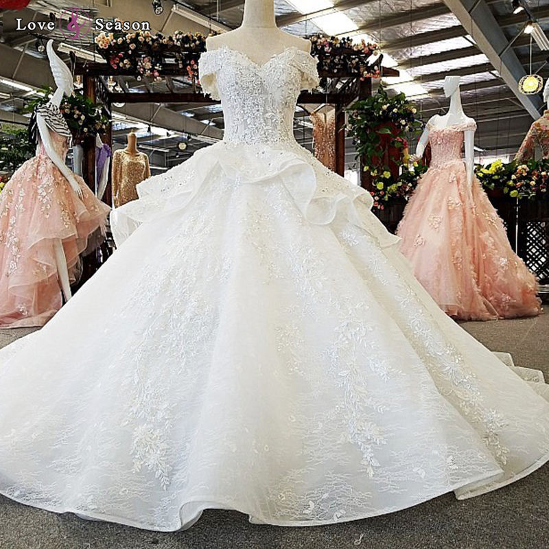 Jancember LS00365 High quality luxury off shoulder sexy wholesale elegant white wedding dress bridal gown