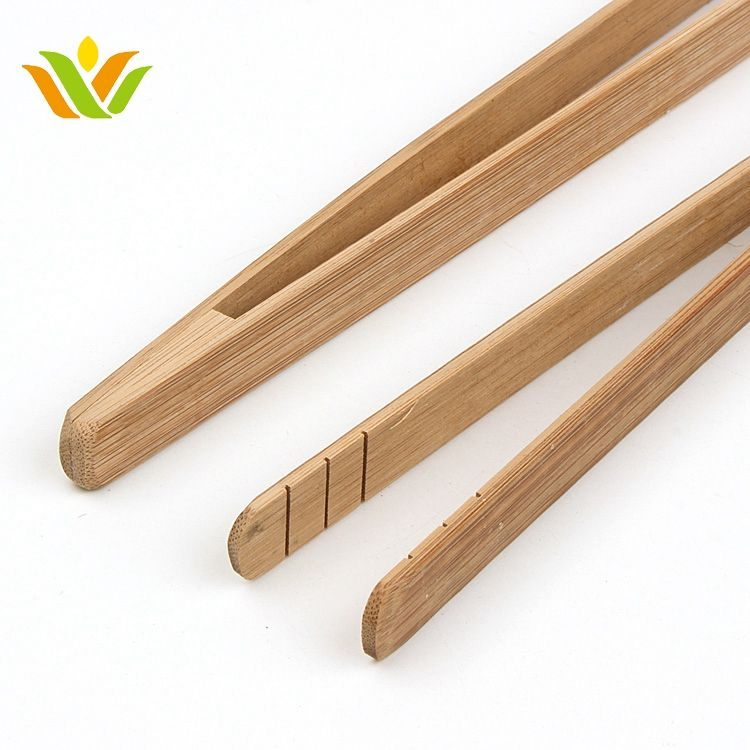 bamboo long handle toast sushiserving tongs