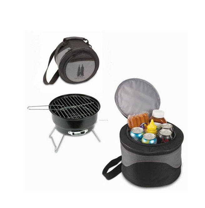 Round Portable Charcoal BBQ Grill With Cooler Tote Bag