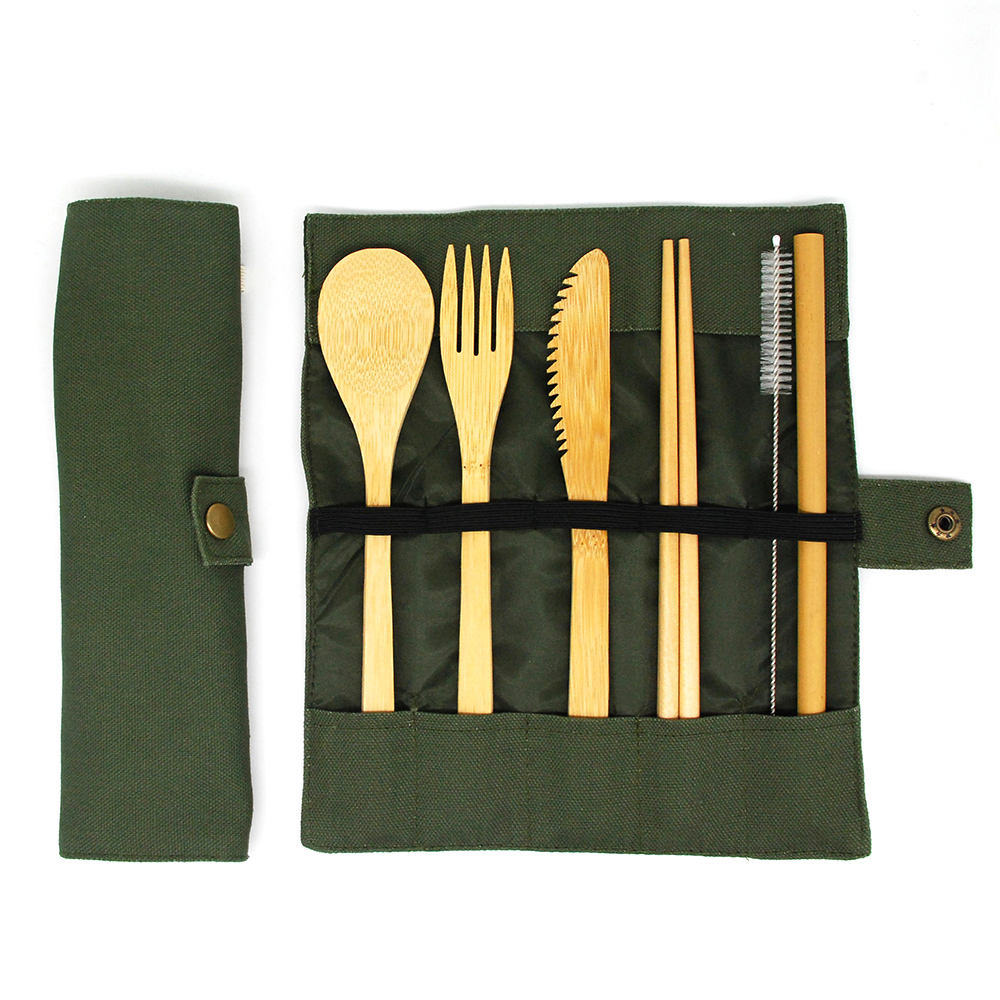 WanuoCraft Eco Friendly Home Goods Cutlery Set Bamboo Travel Flatware Sets With Knife, Fork,Spoon,Straw,Brush,Chopsticks