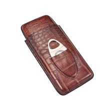 Wholesale Travel 3 Counts Portable Leather Cigar Case