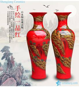 Antique chinese 60inch floor red ceramic porcelain flower vase large for office decoration