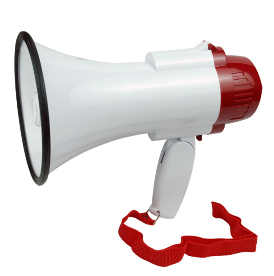 10W ABS Size D Battery Megaphone with Talk/Siren/Record(8seconds)/USB/TF Sockets