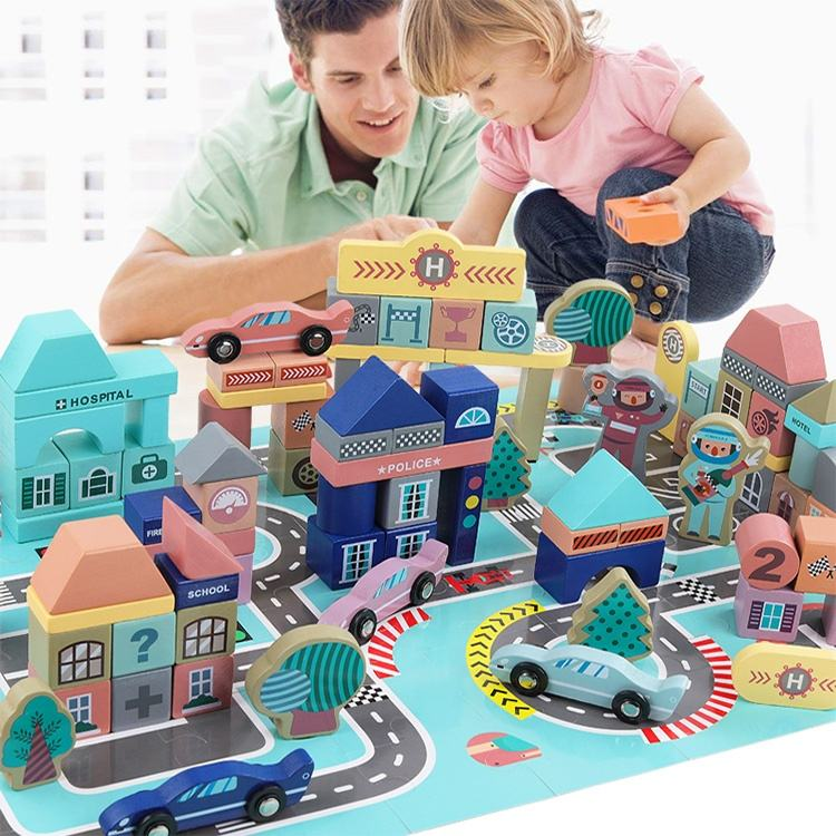 133 pcs City Racing Scenes Assembled Building Blocks Wooden Early Educational Toys wooden city blocks