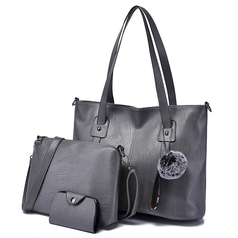 Cheap Price Leather Satchel Bag Lady PU Handbags 4 Pcs in 1 Set Handbags For Women Set