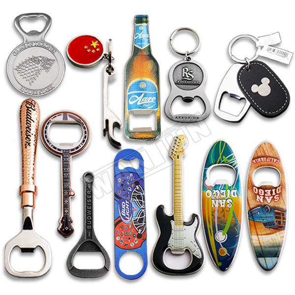manufacturer wholesale custom cheap sublimation blank metal stainless steel novelty shape logo keychain beer bottle opener