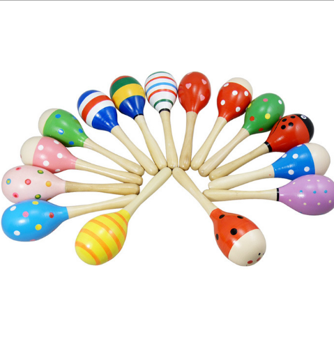 Colorful Wooden musical instruments Baby Maracas wooden toy